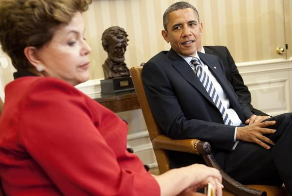 President Obama meets with Brazilian President Dilma Rousseff at the White House in 2012.
