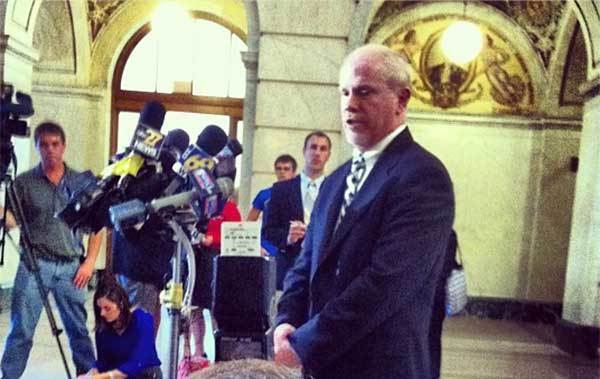 Deputy Attorney General James Barker addresses reporters after the Sandusky appeal hearing on Tuesday.