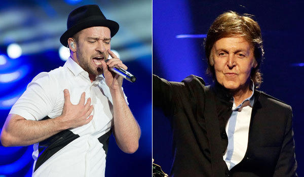Justin Timberlake, left, and Paul McCartney will be performing live on Hollywood Boulevard for 'Jimmy Kimmel Live'