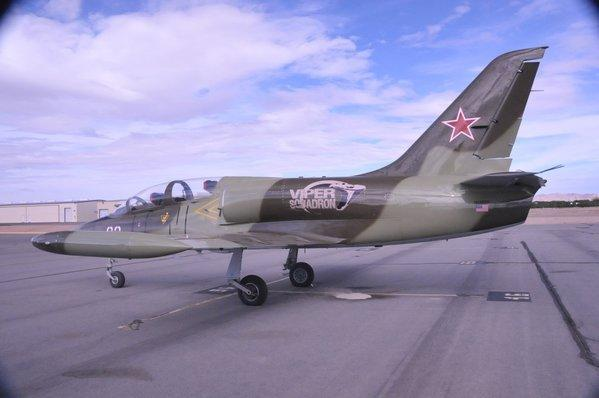 A 1973 Aero Vodochody L-39 Albatros owned by David Riggs sits at the Apple Valley Airport.