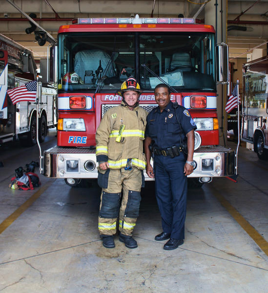 Patrick McGee, left, and Harvey Jacques at the Fort Lauderdale Fire Department.