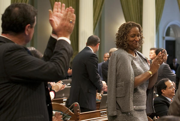 Assemblymember Holly Mitchell (D-Los Angeles), shown when she was sworn in to the Assembly in 2010. She has won a state Senate seat vacated by Curren Price.