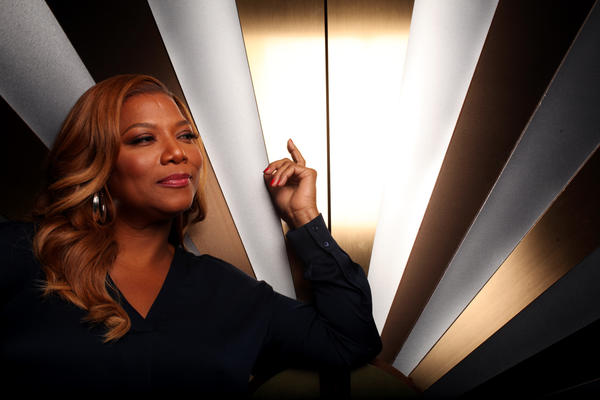 """The Queen Latifah Show"" got off to a promising start Monday. She is pictured on the set of the show at Sony Pictures Entertainment in Culver City."