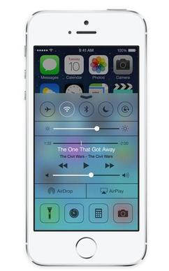With iOS 7, users can swipe up on the touch screen to bring up the Control Center, with which users can adjust their screen brightness, go into Airplane mode and even turn on their iPhone's flash so the device can be used like a flashlight.