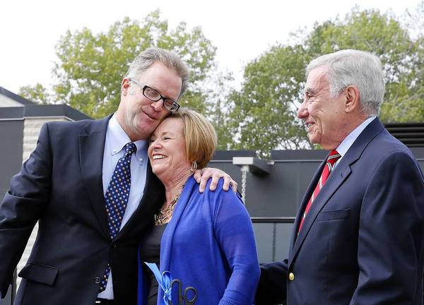 DuPage County Board Chairman Dan Cronin, left, and Patricia and Tom Nicarico were on hand for Tuesday's dedication of the Jeanine Nicarico Children's Advocacy Center in Wheaton.