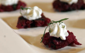 Red beet latkes with creme fraiche and chives (Rodbetsbiffar)