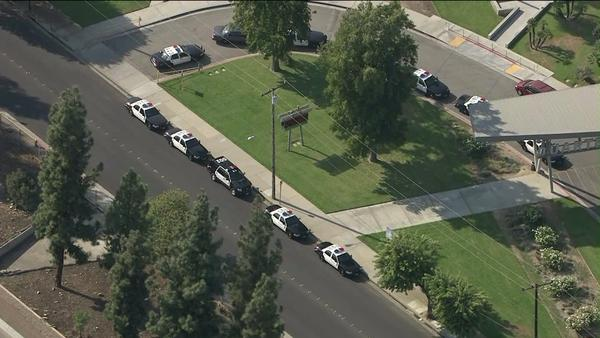 Los Angeles County Sheriff's Department patrol cars are shown at Duarte High school, which was locked down last week after a threatening phone call.