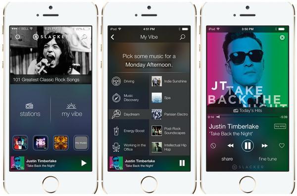 Screenshots of Slacker's new iOS 7 app.