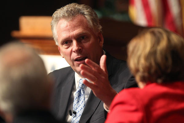 Candidate for Virginia governor Terry McAuliffe talks policy with Cathy Lewis and CNU's Dr. Quentin Kidd Tuesday evening at the Ferguson Center.