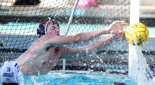 Crescenta Valley High boys' water polo goalie George Vine IV had 10 saves in the Falcons' 8-5 loss to Pasadena Poly.