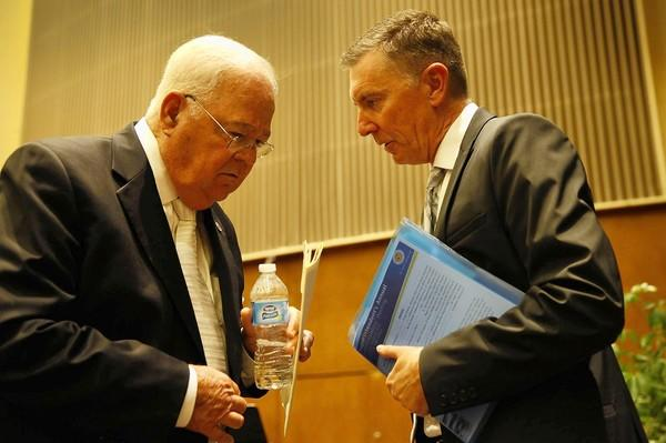 L.A. Unified board President Richard Vladovic confers with Supt. John Deasy last month. Deasy reportedly threatened to quit if Vladovic got the top job.