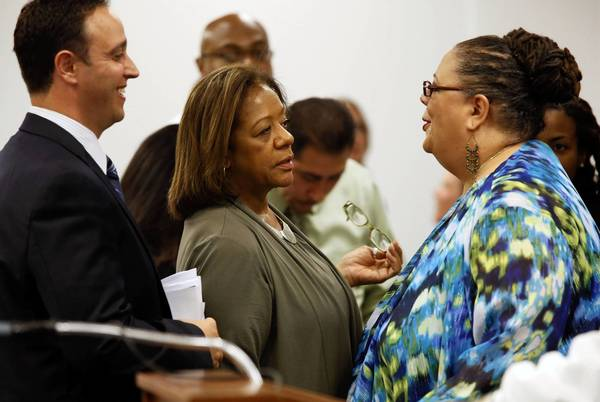Chicago Public Schools CEO Barbara Byrd-Bennett with Teachers Union president Karen Lewis at a Chicago Board of Education meeting in July.