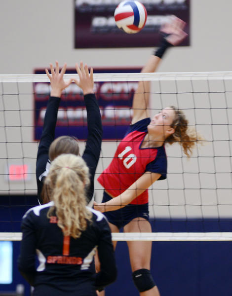 Boyne City senior Kylie Hicks had 13 kills Tuesday as the Ramblers defeated Harbor Springs, 25-12, 25-21, 25-17, in a Lake Michigan Conference match at the Boyne City High School gym.