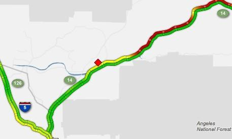 A map of the Sigalert issued for the crash on the 14 Freeway Wednesday morning.