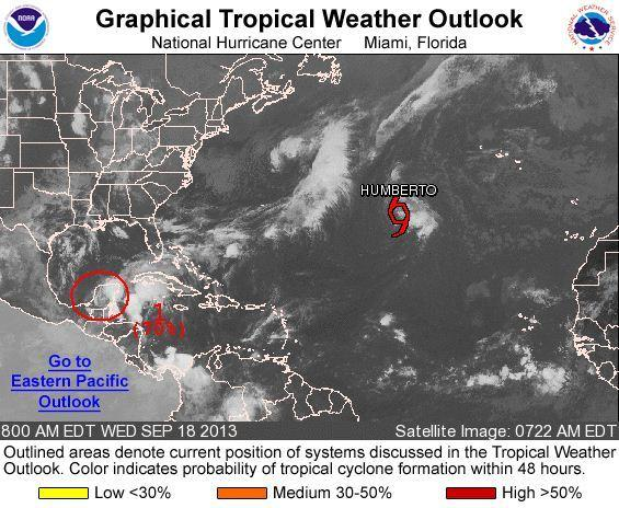 As Tropical Storm Humberto weakens, a system that could become Tropical Storm Jerry in the coming days is strengthening.