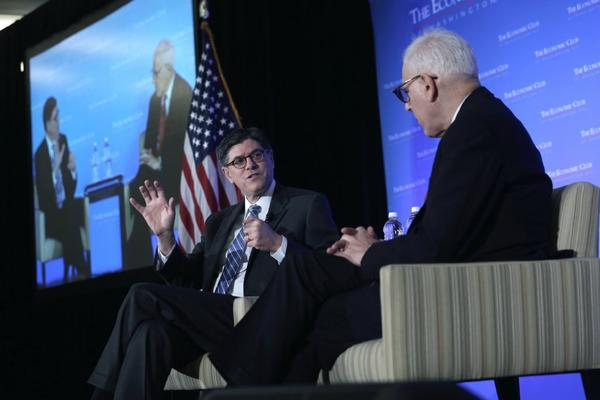 Treasury Secretary Jacob J. Lew, left, talks about the budget at a Washington forum.