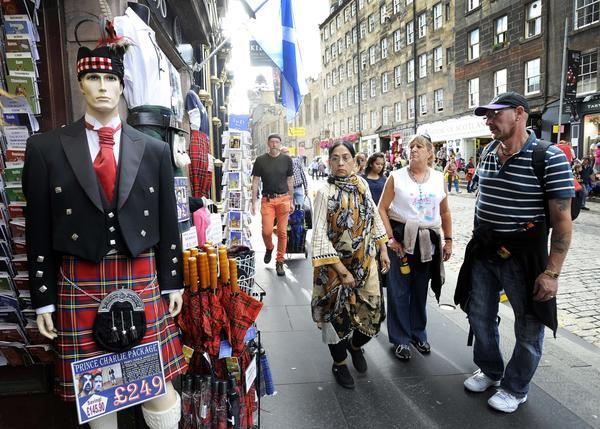 A street scene in Edinburgh, the capital of Scotland.