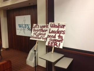 Placards set up in advance of a Windsor Board of Education meeting to discuss next steps in the controversial Excellence and Equity study