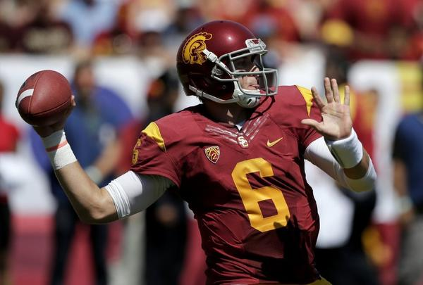USC quarterback Cody Kessler led USC to a 35-7 victory over Boston College but would like to have one pass back.