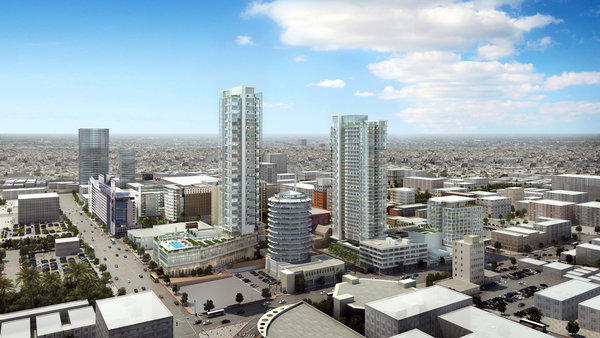 Architectural rendering of the 39- and 35-story Millennium Hollywood towers.