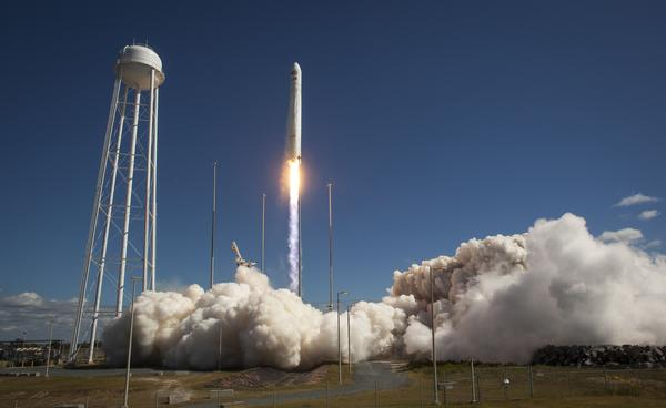 This photo courtesy of NASA shows the Orbital Sciences Corporation Antares rocket, with the Cygnus cargo spacecraft aboard, as it launches from Pad-0A of the Mid-Atlantic Regional Spaceport (MARS), September 18, 2013, NASA Wallops Flight Facility, Virginia.