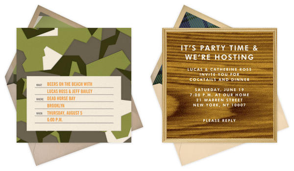 Two of the cards from the Jack Spade for Paperless Post stationery collection aimed at males.