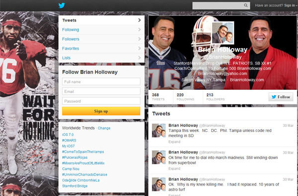 A screen shot of Brian Holloway's own Twitter account shows he last posted in March.