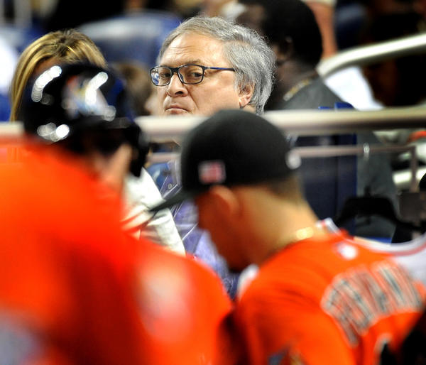 Jeffrey Loria looks on from his Marlins Park seat during a Sept. 11, 2013 game. Robert Duyos, Sun Sentinel