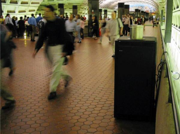 A BioWatch air sampler in the Washington, D.C., subway.