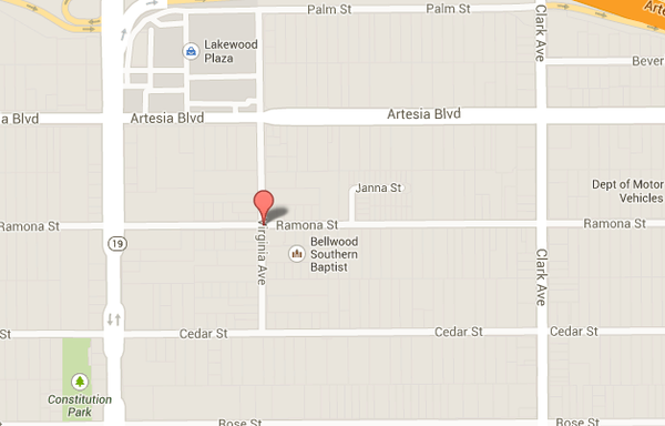 Map shows location of where reports of gunshots were made in the 17600 block of Virginia Avenue in Bellflower.