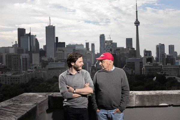 "Actor Daniel Bruhl, left, and race driver Niki Lauda at the Toronto International Film Festival. Bruhl portrays Lauda in the new film ""Rush."""