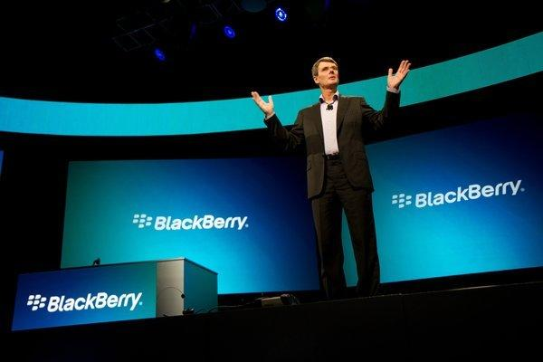 BlackBerry will reportedly lay off as much as 40% of its workforce by the end of the year. Above, Chief Executive Thorsten Heins at a BlackBerry event last year.
