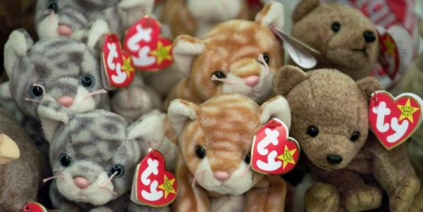 Beanie Babies rest on a shelf at a specialty store in Chicago. The creator of the popular stuffed toys, Ty Warner, has agreed to pay a $53.5-million tax penalty, federal officials said.