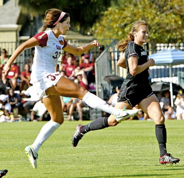 Katie Johnson, left, notched a hat trick with USC soccer in her sophomore season. The Flintridge Sacred Heart Academy graduate has four goals on the year.