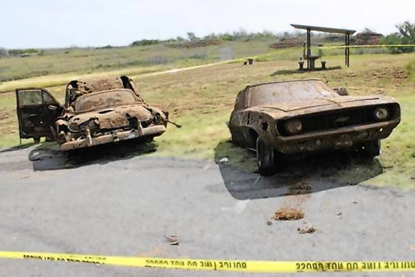 The two vehicles recovered from Foss Lake in Foss, Oklahoma.