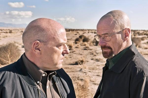 "Dean Norris as Hank Schrader, left, and Bryan Cranston as Walter White in ""Breaking Bad."""