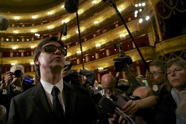 Sergei Filin, artistic director of the Bolshoi Ballet, speaks to reporters during his first visit to Moscow's Bolshoi Theater since he was the victim of an acid attack.