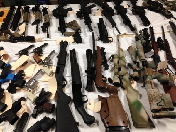 A large cache of weapons and tactical gear was seized from a Simi Valley man, authorities said.
