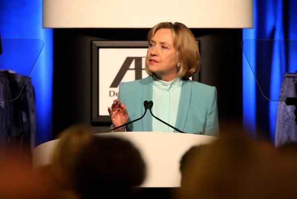 Former U.S. Secretary of State Hillary Rodham Clinton speaks at the annual meeting of the American Bar Assn. in San Francisco last month.