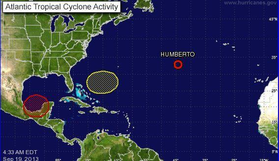 Systems in the Atlantic as of Thursday morning, Sept. 19, 2013.