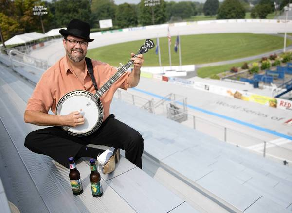 Steve Simpson,plays banjo with Cat Elwell and Saucony Grass, one of 10 bands performing at the BrewGrass Fest Saturday at the Valley Preferred Cycling Center in Trexlertown.