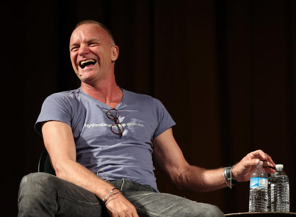 Sting laughs while attending a symposium about the Narrative 4 project during the Printers Row Lit Fest in Chicago.