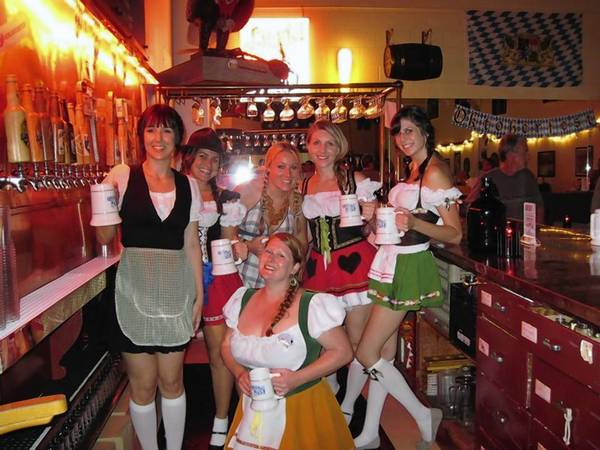 Bartenders at Orlando Brewing's Oktoberfest party in 2012.