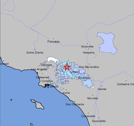 Two earthquakes centered near Pomona rattled Los Angeles County early Thursday morning.