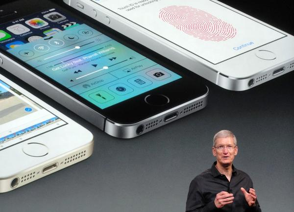 Apple CEO Tim Cook at the announcement of new iPhones.