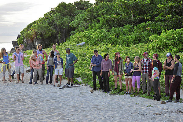 """Blood Is Thicker Than Anything"" - The twenty contestants line up during the Sept. 18 premiere episode of ""Survivor: Blood vs. Water.'"