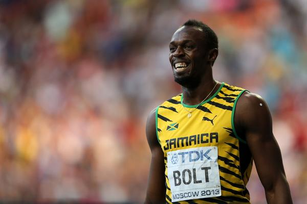 Jamaican sprinter Usain Bolt at the world championships in Moscow.