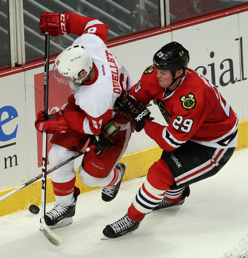 Bryan Bickell and Xavier Ouellet
