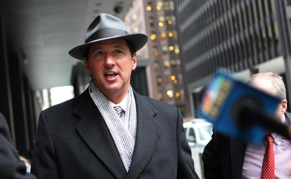 Pitchman Kevin Trudeau leaves the Dirksen U.S. Courthouse after facing District Judge Robert Gettleman in February 2010.