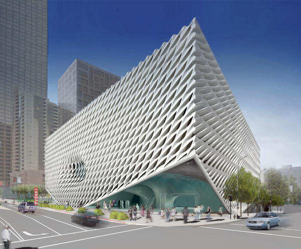 Exterior of The Broad from 2nd Street and Grand Avenue.